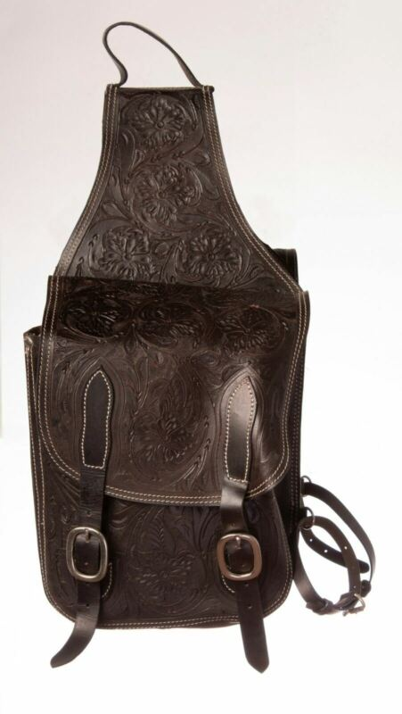 Western Saddle Bags Leather Hand Carved Used Large Motorcycle Trail Riding Bag