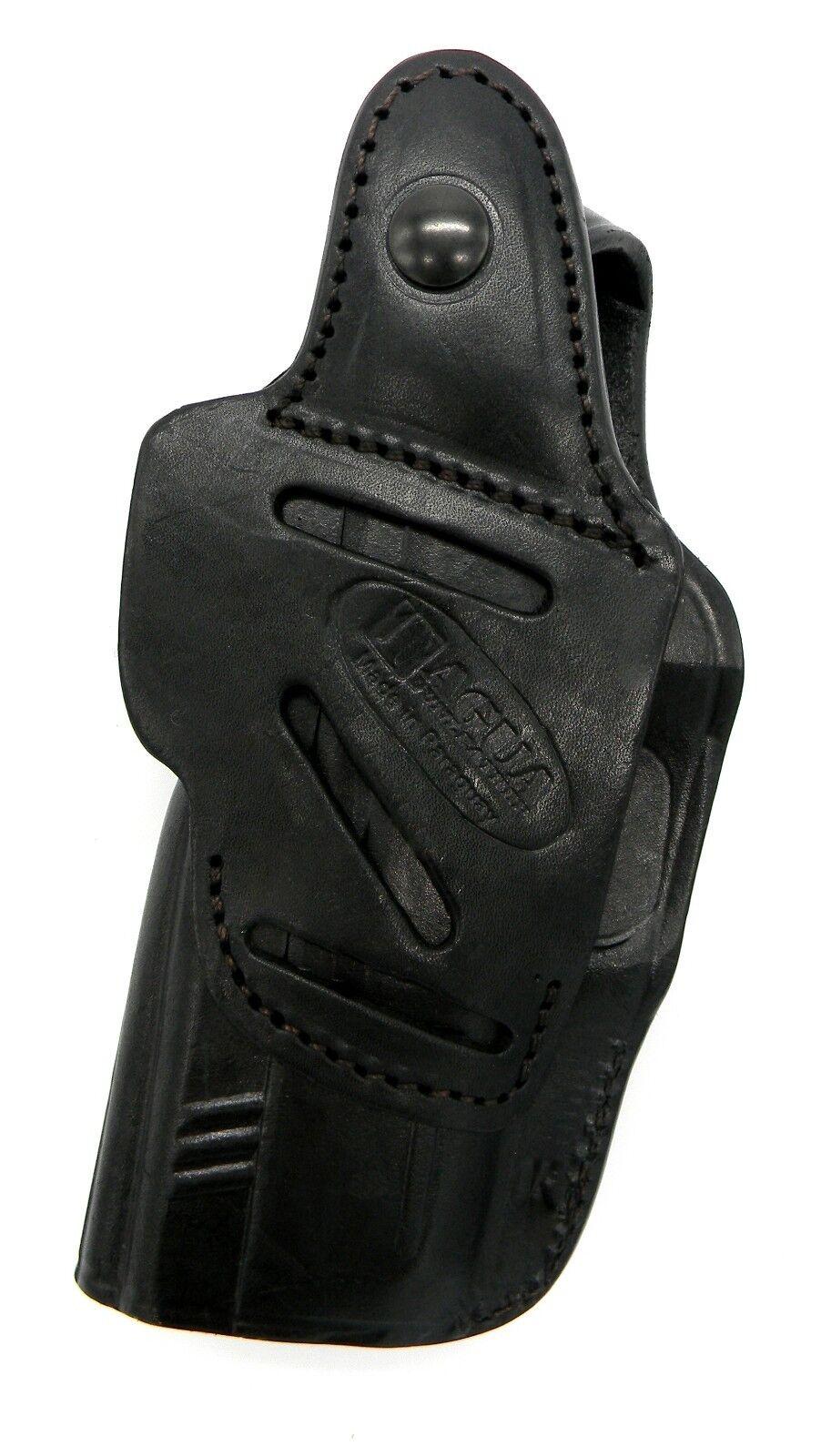 TAGUA BLACK LEATHER 4 in 1 OWB IWB SOB THUMB BREAK HOLSTER RUGER SR9C SR40C
