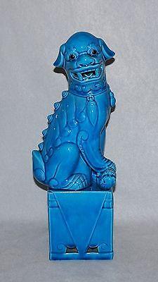 Chinese Turquoise Blue Large Foo Dog/Lion Porcelain Figure