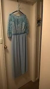Powder Blue Sateen Dress with Upper Lace Bodice Orange Orange Area Preview