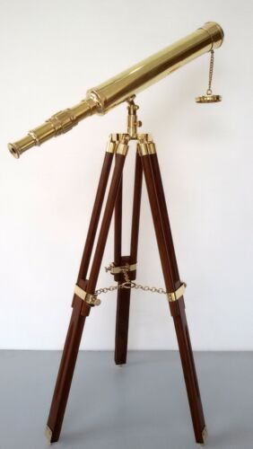 "Marine navy nautical brass 18"" telescope single barrel with wooden tripod stand"