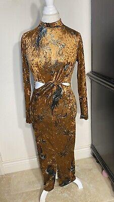 ASOS Hope & Ivy Knot Front Cutout Floral Gold Velvet Dress - Excellent Condition