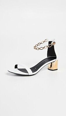 Stella Luna Ankle Chain Sandals Block Heel White Leather Gold Metal 37 Shoes