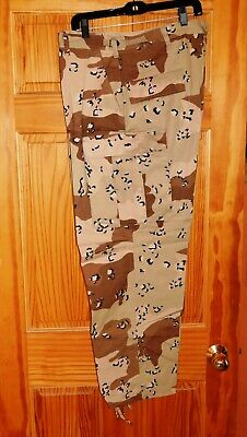 Desert Storm 6 Color Chocolate Chip Camo BDU Pants Size XL/S AND 3 PATCHES NEW