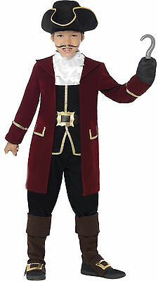 Smiffys Deluxe Pirate Captain Jack Hook Boys Kids Child Fancy Dress Costume 4-12