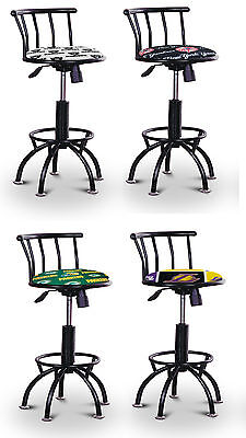 Sports Man Cave Auto Shop Black Metal 24 29  Adjustable Swivel Seat Bar Stools