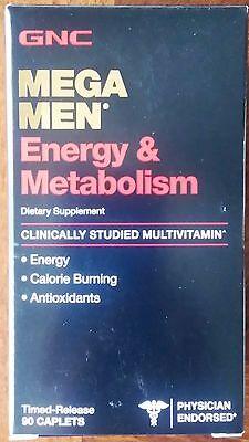 GNC Mega Men Energy & Metabolism Vitamins Supplements 90 Caplets (New)