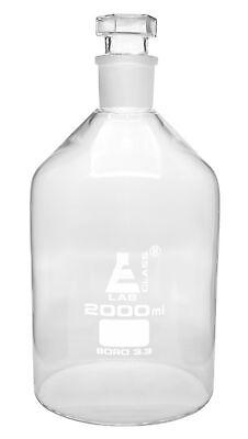 Reagent Bottle 2000ml 3435 Hollow Stopper - Borosilicate Glass - Eisco Labs