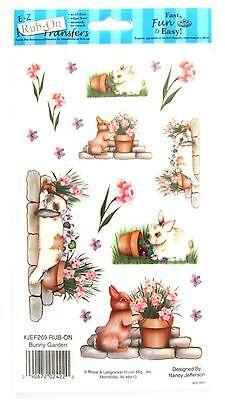 Bunny Garden E-Z Rub-On Transfers Sheet (Decals) Rabbits Flowers ~ New