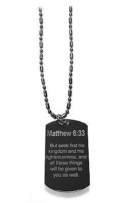 Matthew 6:33 Christian Biblical Bible Verse Dog Tag Metal Chain Necklace New](Biblical Verse)