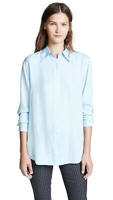 $325 NEW Theory WEEKENDER Pastel Blue Shirt Top Blouse Size SMALL OVERSIZED