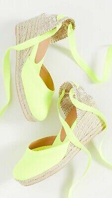 NWOB Castaner Neon Green/Yellow Carina Espadrilles Wedge Size 38