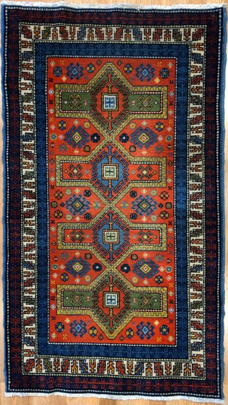 Remarkable Russian - 1920s Antique Caucasian Rug - Five Year Plan 2.9 X 4.9 Ft.