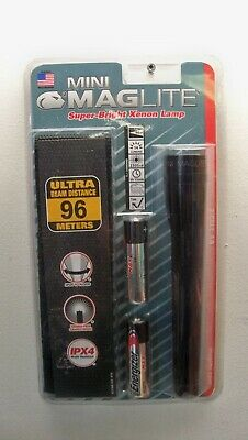 NEW MINI MAGLITE M2A01HL XENON FLASHLIGHT BLACK W/HOLSTER FREE 1ST CLS S&H