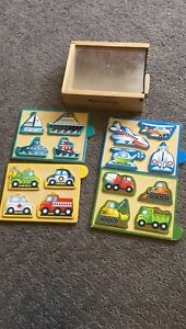 Melissa and Doug mini wooden puzzle pack vehicles