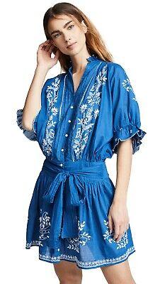 JULIET DUNN LONDON blue embroidered cotton summer beach dress cover up S