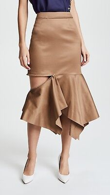 New $890 stunning Monse Zip Trumpet Skirt 2 ruffled handkerchief khaki gabardine