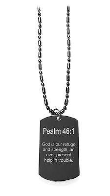 Psalm 46:1 Christian Biblical Bible Verse Dog Tag Metal Chain Necklace New](Biblical Verse)