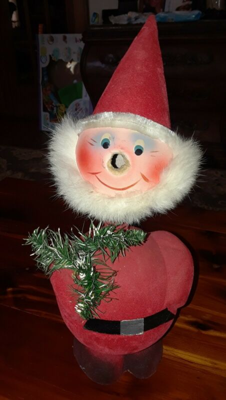 Vintage Santa Claus Bobble Head Flocked Candy Container West Germany Missing Nos