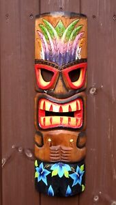Large 50cm Handcarved Painted Tiki Bar Wall Mask Decor Mens Christmas Gift Idea
