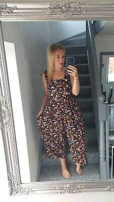 JEFFREY & DARA WOMENS VTG RETRO FLORAL ABSTRACT ALL IN ONE 3/4 JUMPSUIT VGC M/L