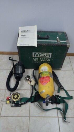 MSA Air Mask 401 SCBA Harness w/ Regulator Demand Valve Box Tank Trunk