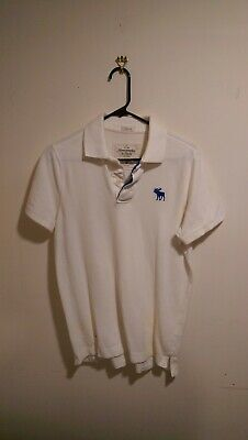 Abercrombie & Fitch White Polo Muscle Shirt. Men's Size Medium. Free Shipping!