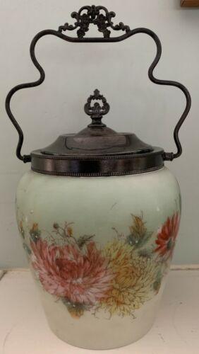 Victorian Hand painted Dahlias Custard Art Glass Biscuit Jar w silver-plate rim