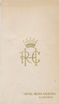 July 22, 1955 Hotel Reina Cristina, Algeciras Spain Dinner Menu