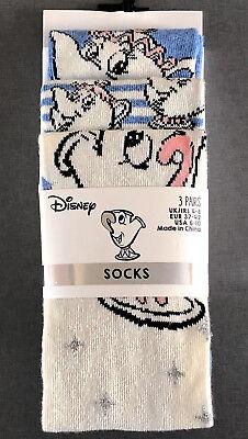 3 Paar Disney Damen Socken Tassilo Tasse Mrs Potts Die Schöne und Das Biest Bunt ()