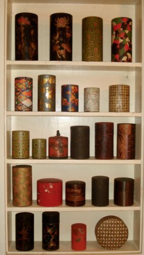 antique Japanese tea tins collection, 24 tins, various materials, good condition
