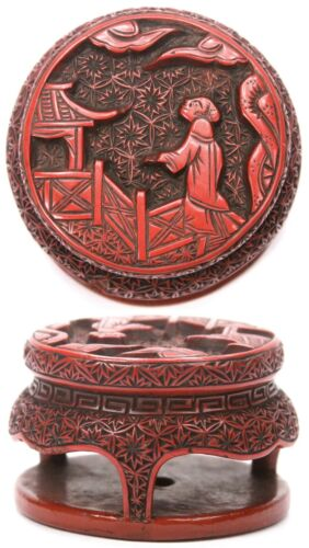 Antique Japanese Edo Period Wooden Netsuke Red Lacquer Round Table Wood Japan