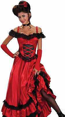 Saloon Girl Costume Dress Sexy Womens Red Western Can Can Burlesque Westworld](Costume Western)
