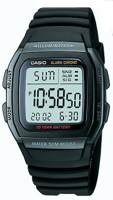 - Casio Men's Quartz Illuminator Digital Alarm Black Resin 36mm Watch W96H-1BV
