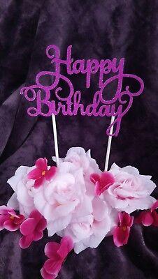 Happy Birthday Cake Topper Geburtstags Torten Stecker,  Deko, Kuchen lila hell