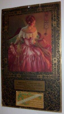 RARE GENE PRESSLER VINTAGE 1935 CALENDAR WITH PRINT OF WOMAN TITLED MISS PRIM