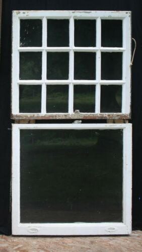 """9avail 36""""x32"""" Antique Vintage Wood Wooden Double Hung Window 12 Glass Lite Pane"""