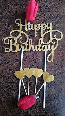 5 Teilig Happy Birthday Cake Topper Geburtstags Torten Stecker,Deko,GOLD