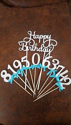 Set‼️2 Zahlen +‼️ 1 Happy Birthday Cake Topper,Kuchenstecker Zahlen,DekoSilber
