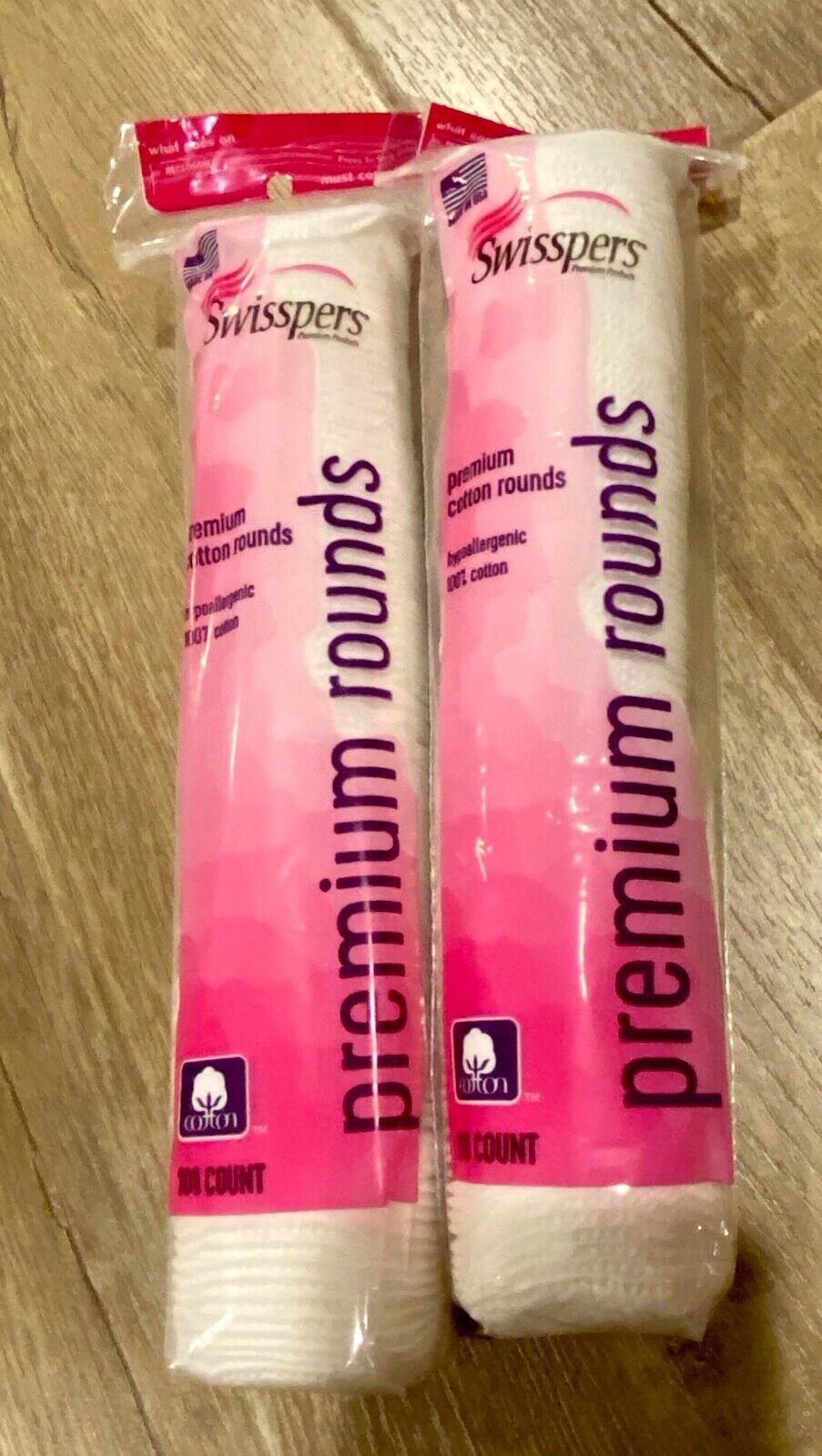 2-pack Swisspers Premium Hypoallergenic 100% Cotton Rounds 2