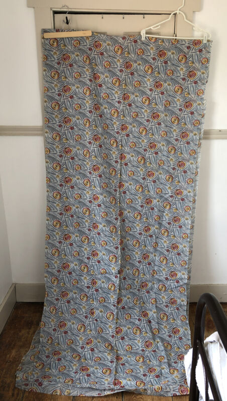 Vintage 1940s Blue Red Yellow Cotton Voile Swirl Abstract Floral Fabric 5 Yards