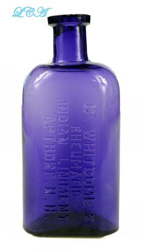 Amethyst INDIAN LINIMENT original antique PATENT MEDICINE bottle APTHORP N H