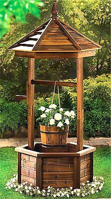 RUSTIC WISHING WELL PLANTER ** BUCKET & BASE/FLOWERS & PLANTS ** NIB - Wishing Plant