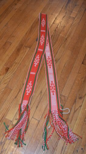 TIGHT WEAVE TRADITIONAL SASH BELT/WHITE,GREEN,RED FREE SHIPPING