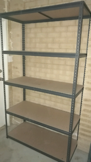 Workshop shelving, bench and desk
