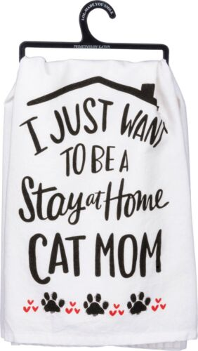 """Dish Towel """"Stay at Home Cat Mom"""" Flour Sack Style"""