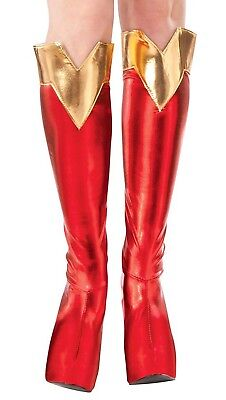 DC Comics Superman SUPERGIRL BOOT TOPS Shoe Covers Adult Costume Red Gold - Red Costume Boot Covers
