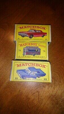 Matchbox Lesney Empty Box Lot #74, #31, #22