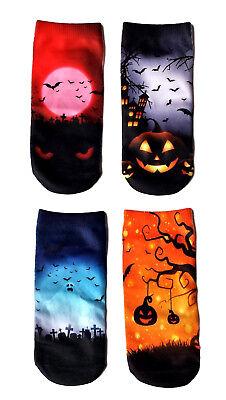 Halloween Spooky Fun Socks for Women Gift, 4 Pack Novelty Funny Socks Sz 9-11