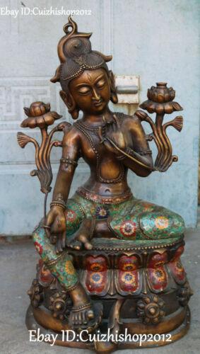 Cloisonne Enamel Bronze Lotus Green Tara Mahayana statue of the Goddess